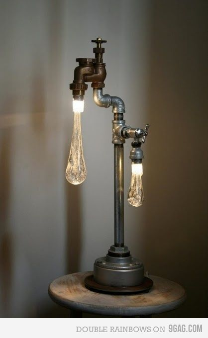 """wow light - """"drippy"""" lightbulbsandpipes make an industrial style lamp"""