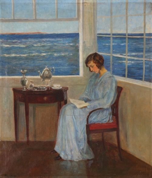 A young woman reading while enjoying a cup of tea in the sunroom by the sea - Poul Friis Nybo. Danish,1869-1929 Oil on canvas. 66 × 56 cm.
