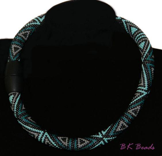 Häkelkette - Bead crochet rope -  Dreiecke türkis_grau