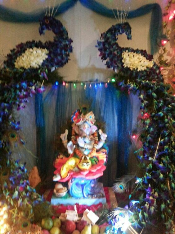 Ganpati puja like pinterest decoration for Artificial flower decoration for ganpati