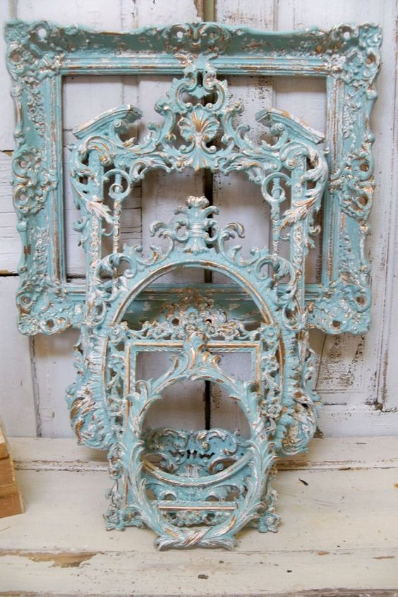 Blue ornate frame grouping hint of aqua with white accents distressed french chic wall decor Anita Spero    This grouping is painted in a custom
