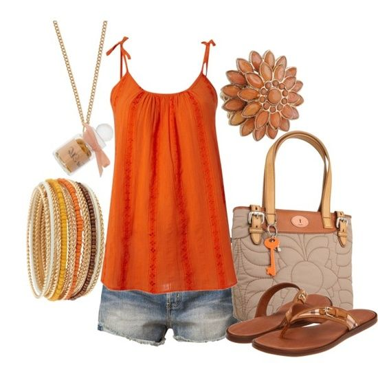 summer wear - orange tank, jean shorts, tan sandals