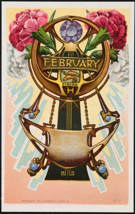 'Февраль' открытка (1911) А. Ленц. Издатель Джонстон Айерс Ко. Цветная литография.Изображения и текст любезно предоставлены МИД Бостон.