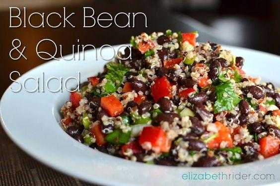 The BEST & easiest Quinoa Salad you'll ever make! Black Bean Quinoa Salad from www.elizabethrider.com #healthcoach #eatclean #recipe