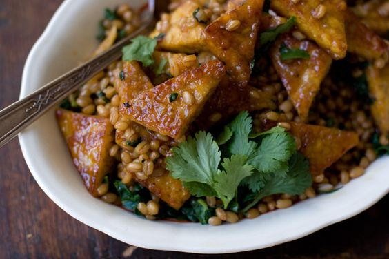 I use tofu and instead of wheat berries I braise kale... it is tangy and lovely.