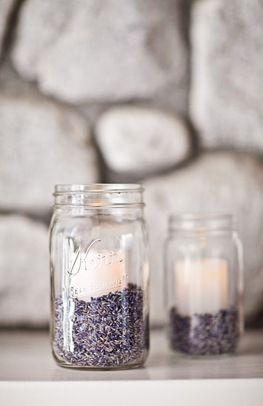 Candles in lavender filled mason jars {Photo via Project Wedding user e.feli}