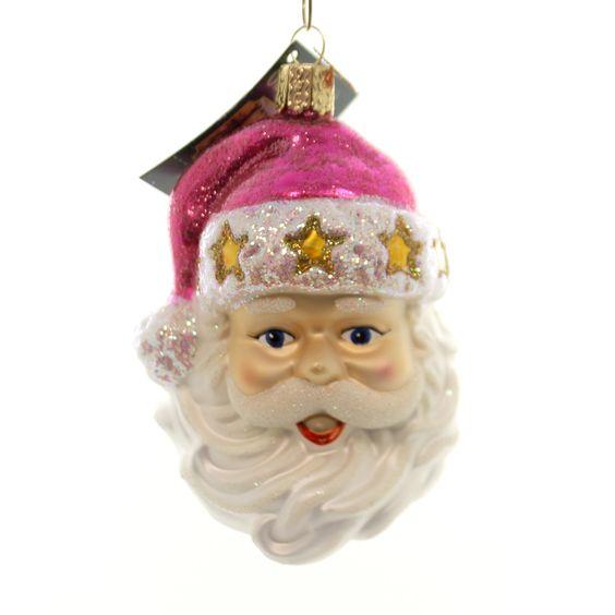 Fashion Santa Glass Ornament