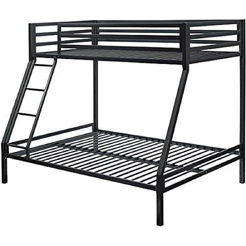 Black Premium Solid And Sturdy Metal Construction Front Secured Ladder Twin Over Full Bunk Bed Dimensions 78wx56 5dx63 Cool Bunk Beds Bunk Beds Full Bunk Beds Metal frame bunk beds twin over full