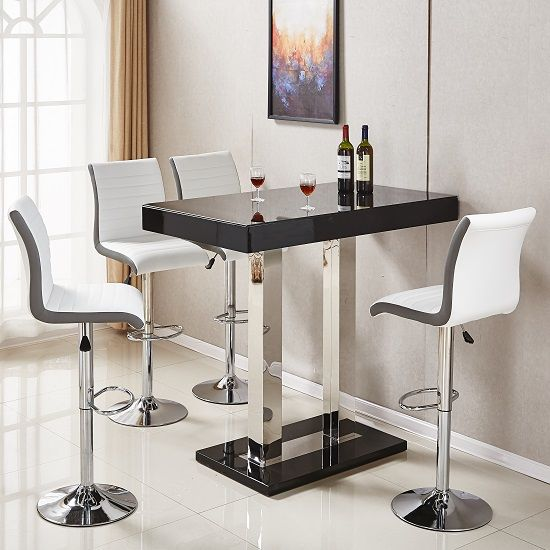 Caprice Glass Bar Table In Black Gloss With 4 Ritz White Stools Furniture In Fashion Glass Bar Table Bar Table Glass Bar