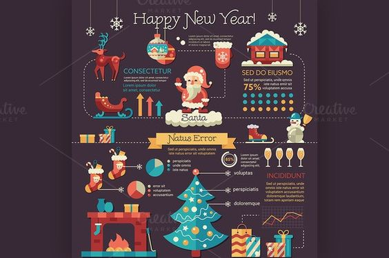 Merry Christmas - Poster Template Infographic Elements $700 - christmas poster template