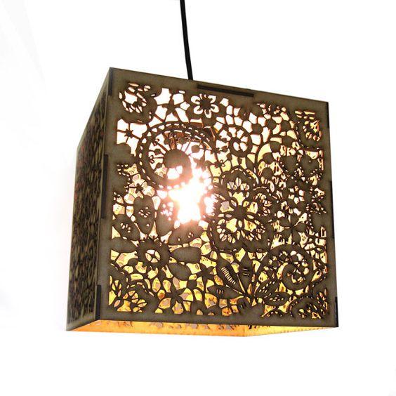 Wood Lace Pendant Light  Hanging Lamp Laser Cut by FabParlor, $100.00