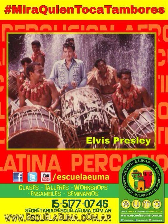 BUENOS DIAS! Hoy es martes de #MiraQuienTocaTambores/ Compartiremos fotografías de famosos tocando percusión! Si tenés alguna, compartila con nosotros! hoy, Elvis