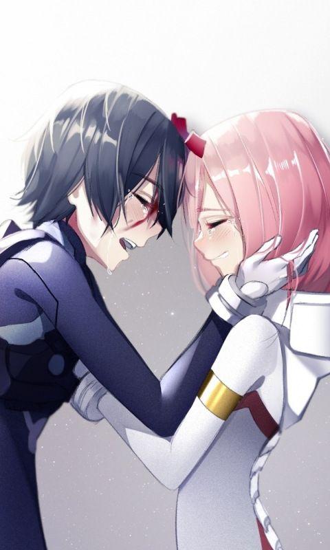 Zero Two And Hiro Anime Couple 480x800 Wallpaper Personagens De Anime Casais Bonitos De Anime Casal Anime