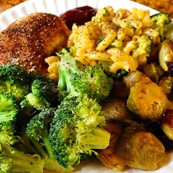 Roasted brussel spouts, steamed broccoli, baked chicken breast (bake at 375 with Himalaya salt, black pepper, chili powder, and garlic powder for about 25 minutes), and finally Mac and cheese. Just used a box of good old mac but added in caramelized white onions and broccoli