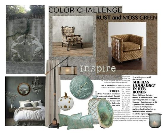 """""""Rust and Moss Take 3"""" by jesking ❤ liked on Polyvore featuring interior, interiors, interior design, home, home decor, interior decorating, ARTE, CB2, Sitka and Old Hickory Tannery"""