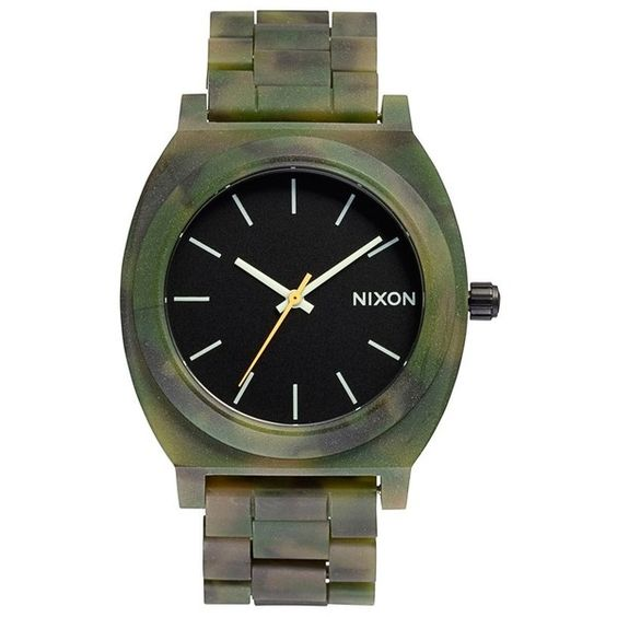 Nixon 'The Time Teller' Bracelet Watch, 37mm ($94) ❤ liked on Polyvore featuring jewelry, watches, accessories, bracelets, camo, military wrist watch, stainless steel watches, military bracelet, bracelet wrist watch i triple crown