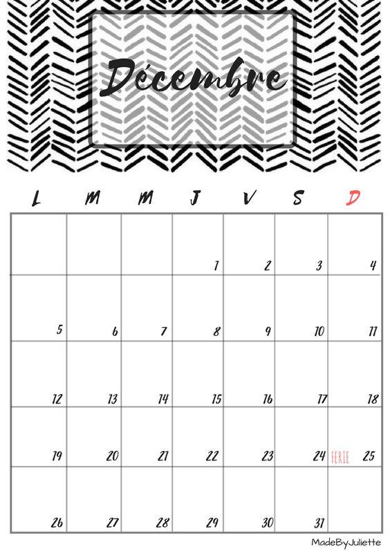 Calendrier d cembre 2016 imprimes le calendrier pour customiser ton agenda a voir ma - Mois du blanc 2017 ...