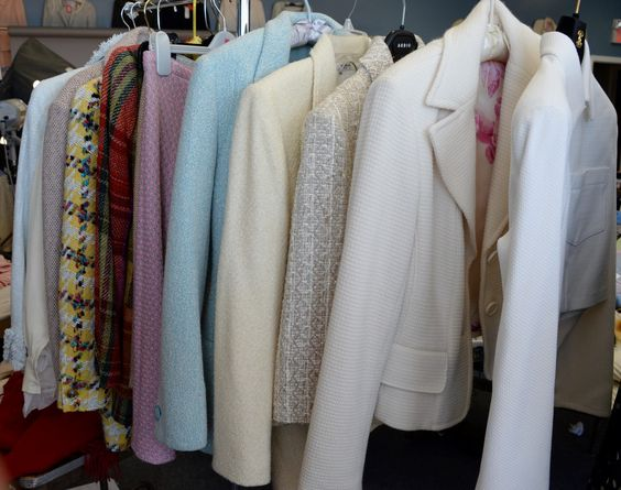 Lot 91: Nine tweed womens suit jackets with six skirts including Dana Buchman, Kulson Strenesse, Anne Klein, Tahari, Michael Kors, etc. #Nadeausauction #Socialite #Luxury #Couture #Vintage #Fashion #Auction