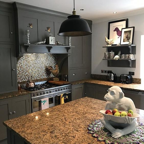 Farrow and Ball Mole's Breath kitchen