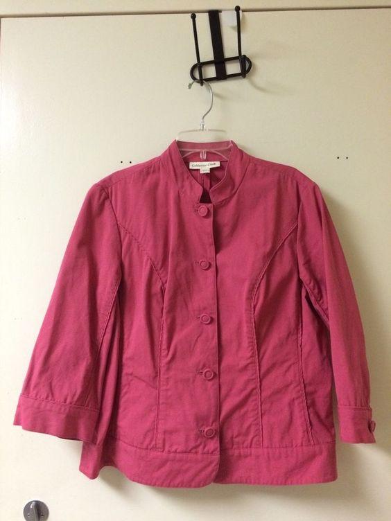 Coldwater Creek Pink Women's Jacket Blazer Spring Easter Button Up Size 12 #ColdwaterCreek #BasicJacket