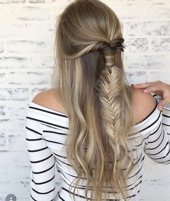 Half up half down fishtail braid hairstyle
