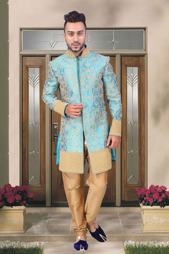 You can make your marriage a lifetime #memory with the dynamic range of indo western #sherwani that will show a delicate look to your personality with Light #blue jamavar indo western sherwani featuring self designed #motifs all over the base giving it a rich ethnic texture. The attractive designs adorning the Chinese collar and cuffs is #embellished with #gleaming work on front panel are reflecting its #exclusivity.