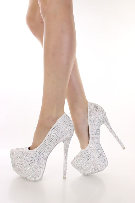 Graduation: White Rhinestone Platform Pump Heels | Hello dream