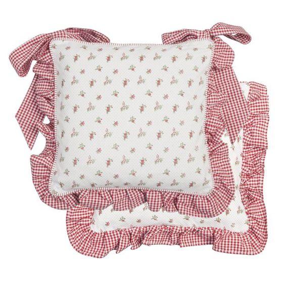 Coussin galette de chaise roses volant vichy rouge - Coussin galette chaise ...