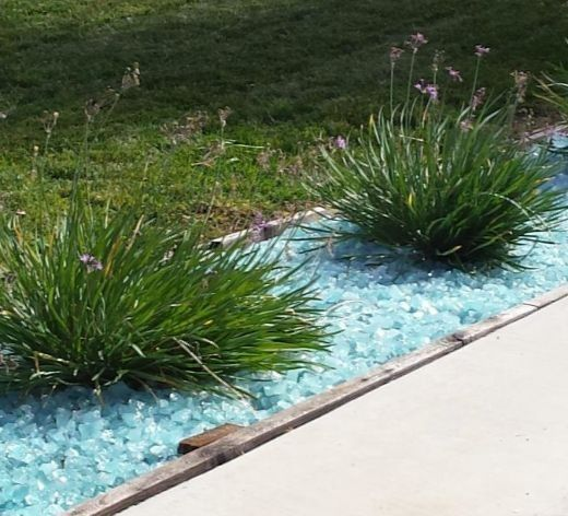 Blue Glass Landscaping Mulch Pebble Ideas For Coastal Style Gardening Mulch Landscaping Landscaping With Rocks Landscape Design