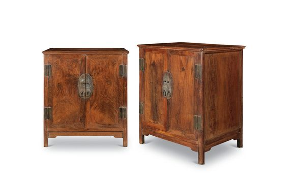 A pair of small huanghuali square corner cabinets. Early Qing Period. Photo China Guardian