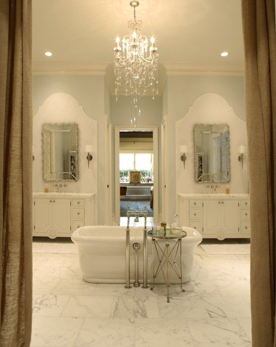 Amazing Master Bathroom With Pale Blue Walls Paint Color