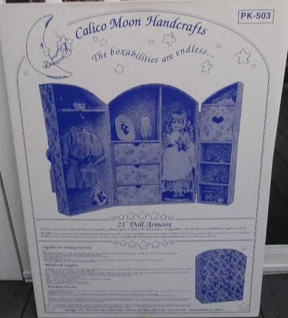 1995 Vintage Calico Moon Handcrafts 21 Inch Doll Armoire Kit for Fabric Covered Cardboard Armoire & Instructions for Sewing Victorian Jumper by VictorianWardrobe on Etsy