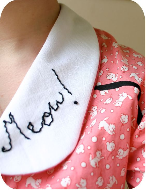 Love the idea of adding some #embroidery to a #peterpan #collar, the perfect marriage of Amy's and Rebecca's classes!