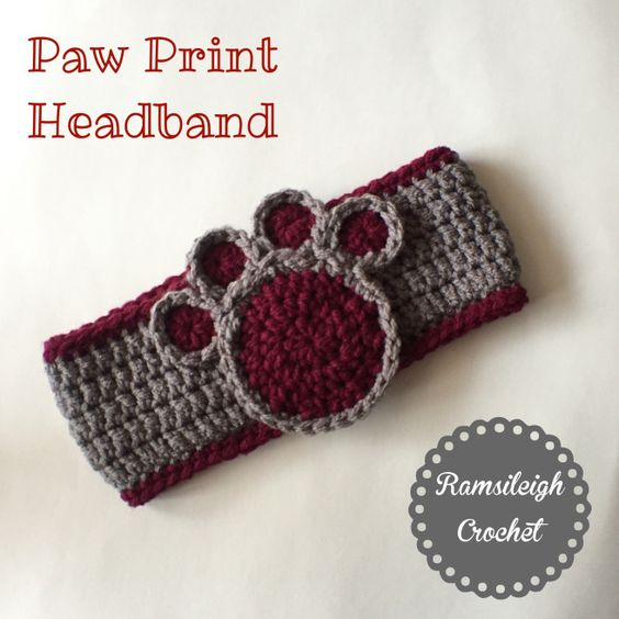 Free Crochet Pattern For Paw Print : Paw Print headband by Ramsileigh Crochet Ramsileigh ...
