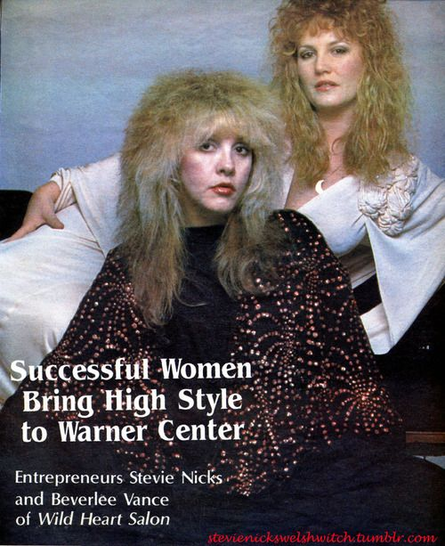 Stevie  ~ ☆♥❤♥☆ ~    and Beverlee, with BIG hair, posing for the camera in the 80's