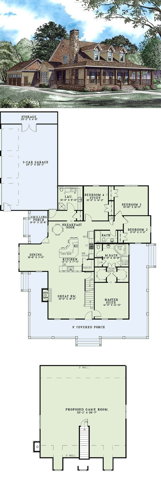 #Country #HomePlan 62207 | This beautiful country home offers a huge wrap-around front porch and has a side loading 3-car garage. The great room has a fireplace and is open to the kitchen. The kitchen features a large island bar, a walk-in pantry, breakfast nook, dining room and access to the grilling porch. The laundry room has a shower and toilet for more convenience. The master suite has 2 walk-in closets, and the master bathroom offers a corner whirlpool tub and a corner glass shower.