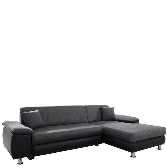 Ecksofa Maui mit Longchair wählbar Sofa schwarz grau Jetzt - wohnzimmer couch günstig