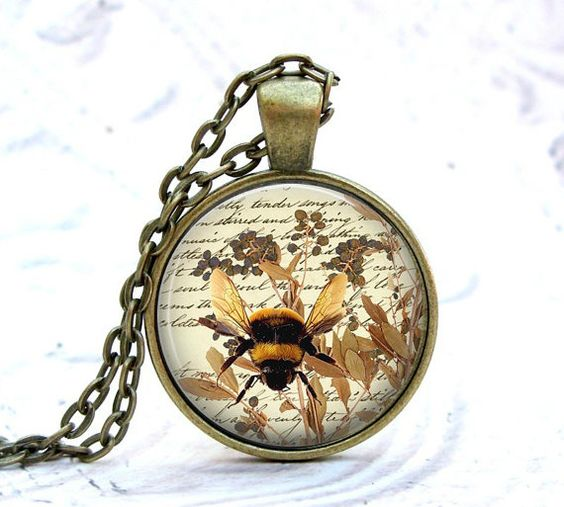 Bumble Bee Necklace, Vintage Bronze Pendant & Chain, Handcrafted Glass & Metal Jewelry by Lizabettas : Buy 3 Get 1 Free!!!