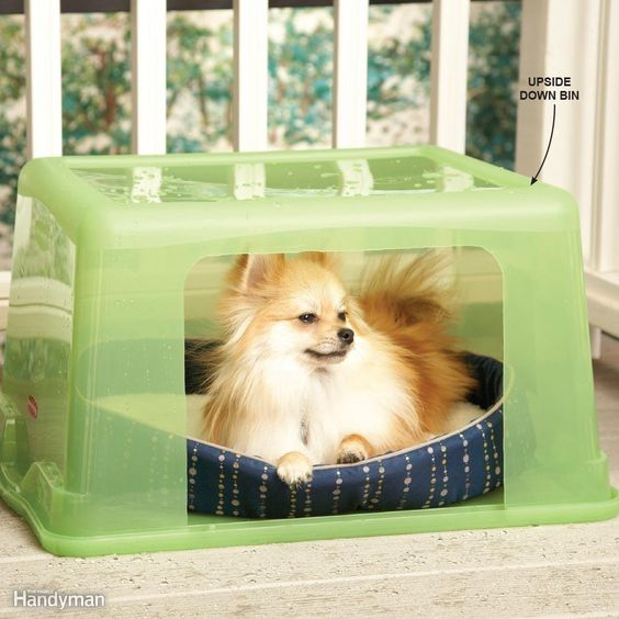 Rainy-Day Doghouse - Use a plastic storage bin for a dog house. A nice little…