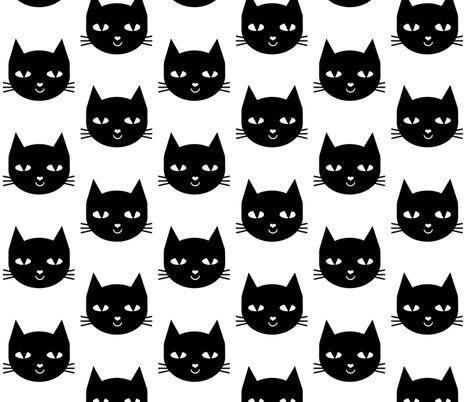 cat black fabric by charlottewinter on Spoonflower - custom fabric