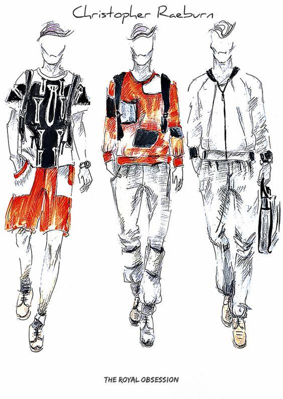 Christopher Raeburn  Menswear Spring 2015. Fashion Illustration by Doryanna Popa.