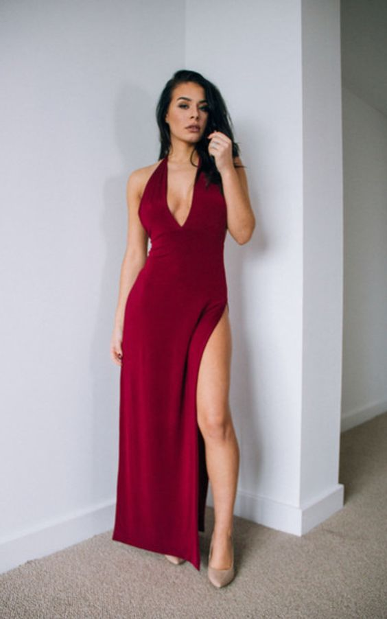 Gloria Claret Red Backless Slit Leg Maxi Dress - SilkFred
