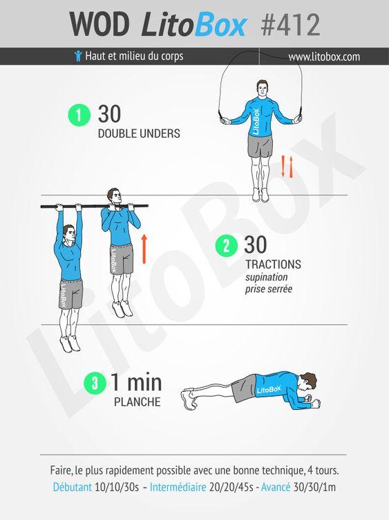 Musculation au poids du corps (haut et milieu du corps).  Épinglez cet entraînement pour le faire plus tard !  Bon courage et à bientôt.  Pierre.