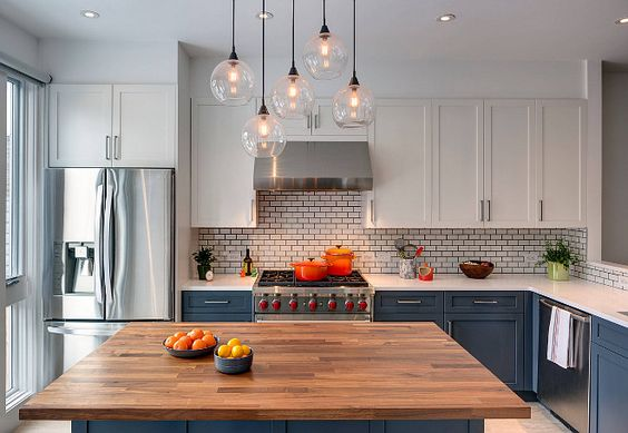Two Toned Blue and White Kitchen Paint Color. Deep Space by Benjamin Moore Barker Freeman Design Office Architects pllc