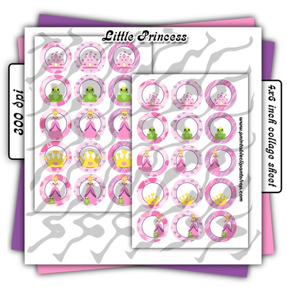 Princess And Her Frog Printable / Editable Bottle Cap Images