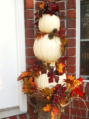 easy DYI Pumpkin Topiaries  what you need Base or Large Planter Pot, 3 Artificial Pumpkins, Broom Handle Drill, Faux Leaves and Glue