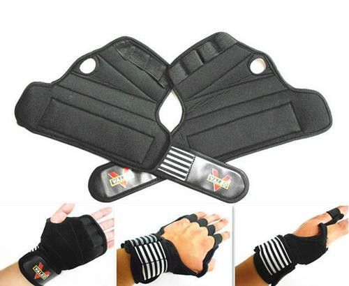 Weight Lifting Training Gym Fitness Bodybuilding Gloves Grip Gripper And Wrist Strap Pads