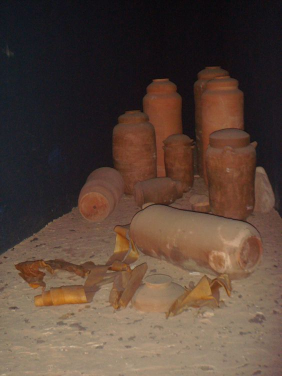 Some of the Dead Sea Scrolls were hidden in jars which were later found in the excavation of Qumran. This type of pottery is unknown elsewhere: since it was found in the caves where the scrolls were hidden, and in the Qumran ruins, many believe it is conclusive proof that the scrolls were written in Qumran.
