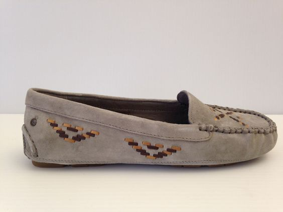 UGG Australia Womens Moccasin Loafers Calze Rustic Weave Ash Gray Suede Sz 8 | eBay