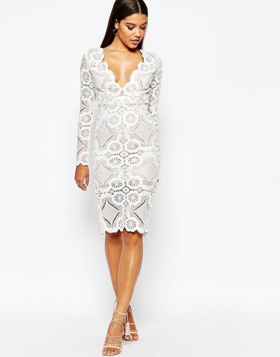 Short white lace dress v neck